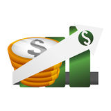 Money economy and financial item. Coins and growth arrow icon. Money financial and economy theme. Isolated design. Vector illustration Stock Photo