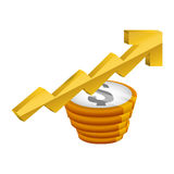 Money economy and financial item. Coins and growth arrow icon. Money financial and economy theme. Isolated design. Vector illustration Royalty Free Stock Photography
