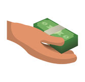 Money economy and financial item. Hand and bills icon. Money financial and economy theme. Isolated design. Vector illustration Stock Photography