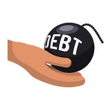 Money economy and financial item. Hand and bomb debt icon. Money financial and economy theme. Isolated design. Vector illustration Royalty Free Stock Photography