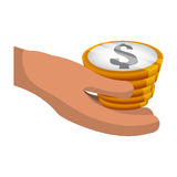 Money economy and financial item. Hand and coins icon. Money financial and economy theme. Isolated design. Vector illustration Stock Image