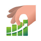 Money economy and financial item. Hand and growth arrow icon. Money financial and economy theme. Isolated design. Vector illustration Royalty Free Stock Images