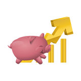 Money economy and financial item. Piggy and growth arrow icon. Money financial and economy theme. Isolated design. Vector illustration Stock Image
