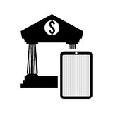 Money economy and financial item. Smartphone and bank icon. Money financial and economy theme. Isolated design. Vector illustration Royalty Free Stock Photography
