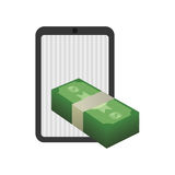 Money economy and financial item. Tablet and bills icon. Money financial and economy theme. Isolated design. Vector illustration Stock Image