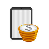 Money economy and financial item. Tablet and coins icon. Money financial and economy theme. Isolated design. Vector illustration Royalty Free Stock Photo
