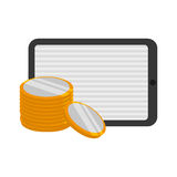 Money economy and financial item. Tablet and coins icon. Money financial and economy theme. Isolated design. Vector illustration Stock Image