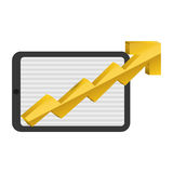Money economy and financial item. Tablet and growth arrow icon. Money financial and economy theme. Isolated design. Vector illustration Stock Images