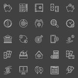 Money economy line icons. Vector linear banking and savings signs or pictograms on dark background. Money savings concept symbols Stock Image