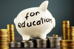 Money for education. Coins and piggy bank. Royalty Free Stock Photos