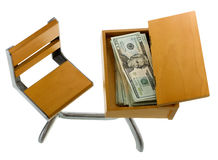 Money for Education inside Desk Stock Images