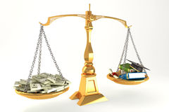 Money and Education in Scale. 3d illustration of balancing of money and education on scale vector illustration
