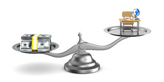 Money and education on scales. Isolated 3D illustration Royalty Free Stock Photos