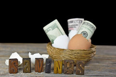 Money and eggshells in nest Royalty Free Stock Photos