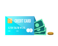 Money enclose with credit card. Stock Photography