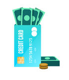 Money enclose with credit card. Royalty Free Stock Image