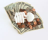 Money and Energy Saving Light Bulb Stock Photo