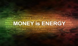 Money IS energy Word Cloud Banner Stock Photos