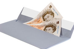 Money in the envelope. British pounds in the envelope - bribe Royalty Free Stock Photo
