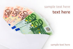 Money in envelope. Stock Image