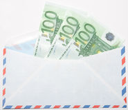 Money in an envelope. Euros in an airmail envelope on white background royalty free stock images