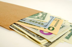 Money in envelope. Stock Images