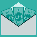 Money in an envelope Stock Images
