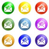 Money envelope icons set vector vector illustration