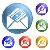 Money envelope icons set vector stock illustration