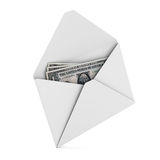 Money in envelope on white background Royalty Free Stock Photo