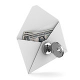 Money in envelope on white background Stock Photo
