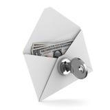 Money in envelope on white background. Isolated 3D image stock illustration