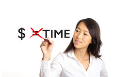 Money equals time concept. Asian Business woman crossing out money equals time concept stock photos