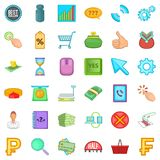 Money equivalent icons set, cartoon style. Money equivalent icons set. Cartoon set of 36 money equivalent vector icons for web isolated on white background Stock Images