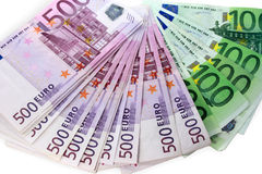 Money of Euro. A fan lay on a white background Stock Photography
