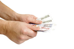 Money euro. In man hand Stock Photography