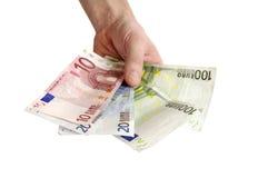 Money euro. In man hand Stock Photos