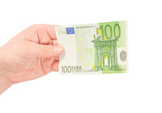 Money (Euro). In a hand isolated on white Royalty Free Stock Photos