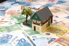 Money of euro. For purchase of the private house Stock Photos