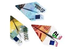 Money euro airplane set Royalty Free Stock Images