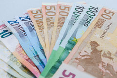 Money Euro. Background of euro bills / Euro bangnotes. Shallow focus Royalty Free Stock Image
