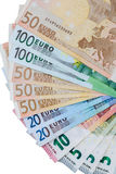 Money Euro. Background of euro bills / Euro bangnotes. Shallow focus Royalty Free Stock Photography