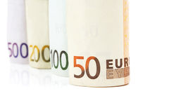 Money euro banknotes. Background of euro money 50 100 200 and 500 Stock Photos