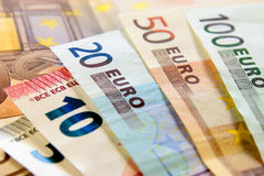 Money. Euro banknotes closeup laying on desk royalty free stock photo