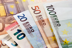 Money. Euro banknotes closeup laying on desk royalty free stock images