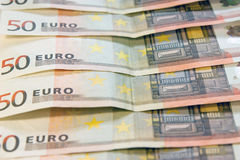 Money. 50 Euro banknotes closeup laying on desk royalty free stock photos