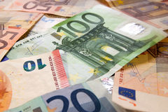 Money. Euro banknotes closeup laying on desk royalty free stock image