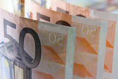 Money. Euro banknotes closeup standing on desk stock images