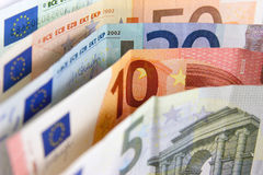 Money. Euro banknotes closeup standing on desk royalty free stock images