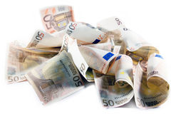 Money. Euro banknotes disorderly laying on desk stock photos